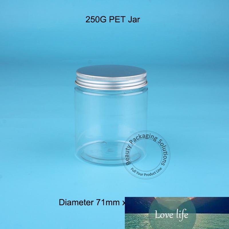 50pcs / Lot all'ingrosso epmty 250g vaso di plastica PET con tappo in alluminio Mask Powder lattine contenitore cosmetico Candy bottiglia riutilizzabile