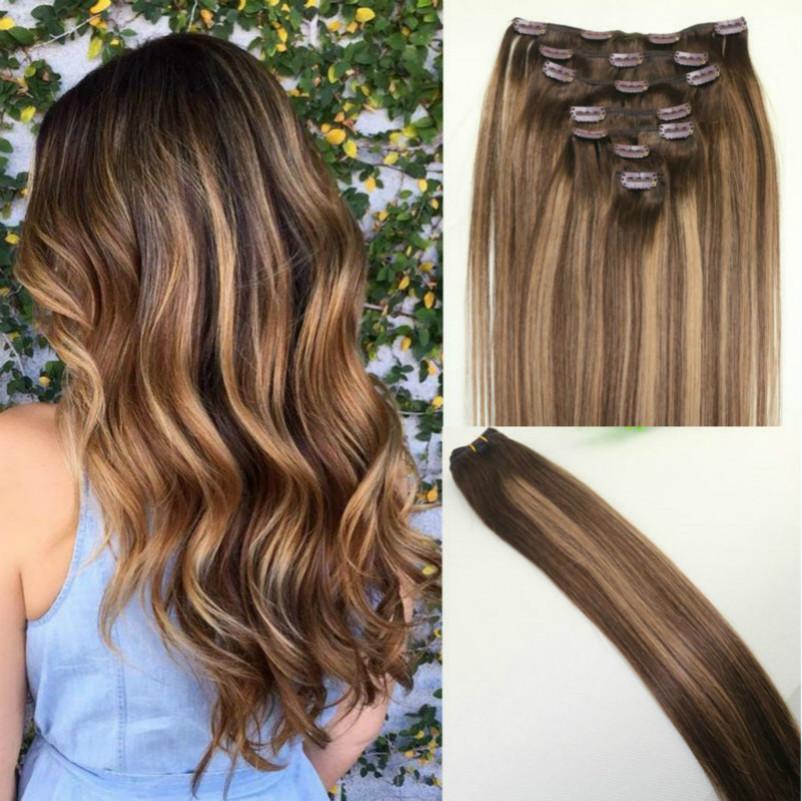 أومبير # 4 # 27Balayage اللون كليب في نوعية الشعر التمديد البرازيلي العذراء غير المجهزة ريمي الإنسان الشعر مع أبرز جيد