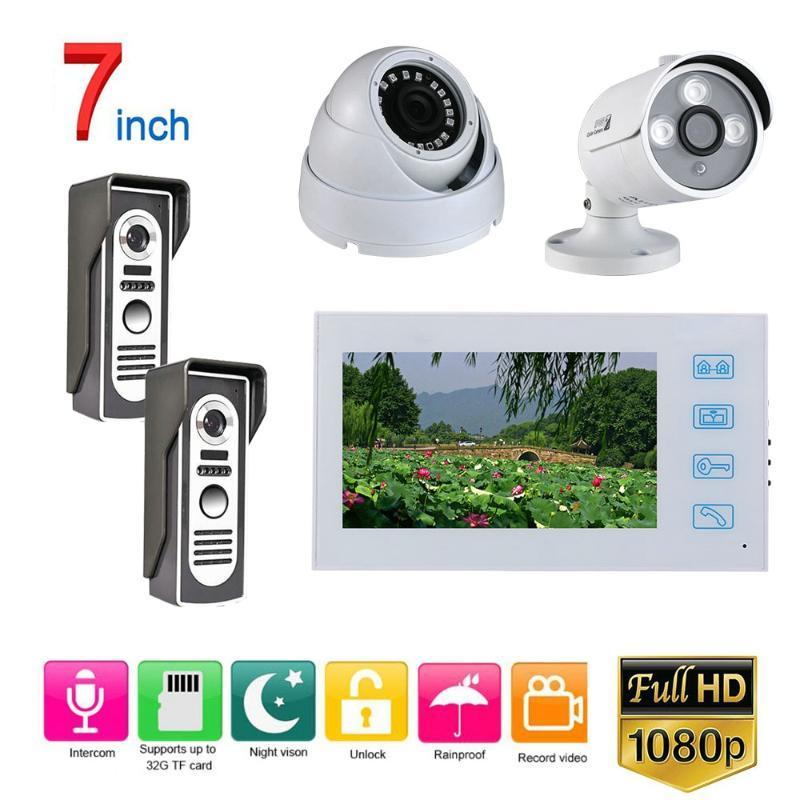 7 Zoll verdrahtete Video-Türsprechakte Türklingel Intercom-System mit AHD 1080P Kamera Weiß Video Intercom-System Kit