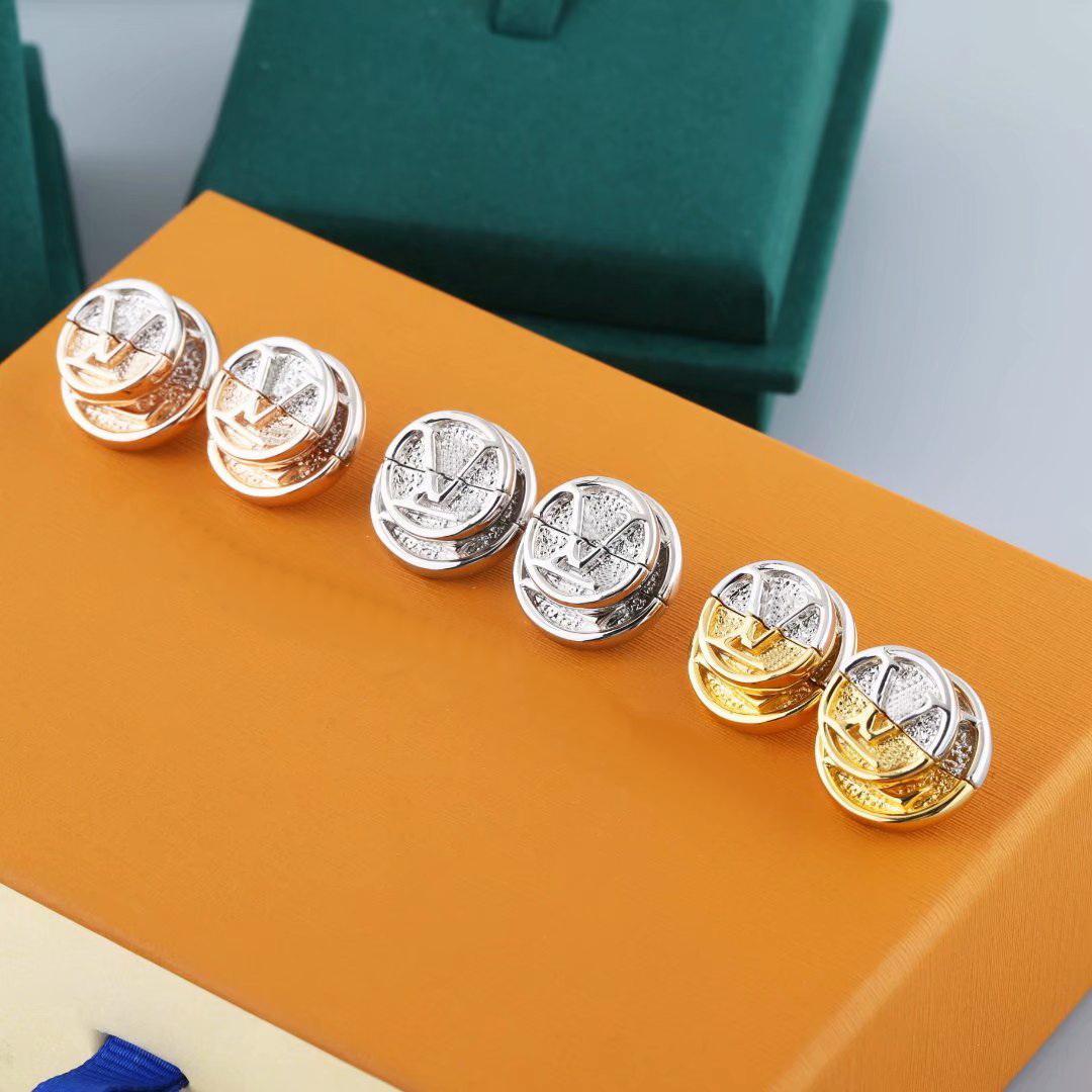 Europe America Style Bijoux Ensembles Lady Femmes gravées V Initiales L à V Double Couleur Gold Coin Goudins M69664