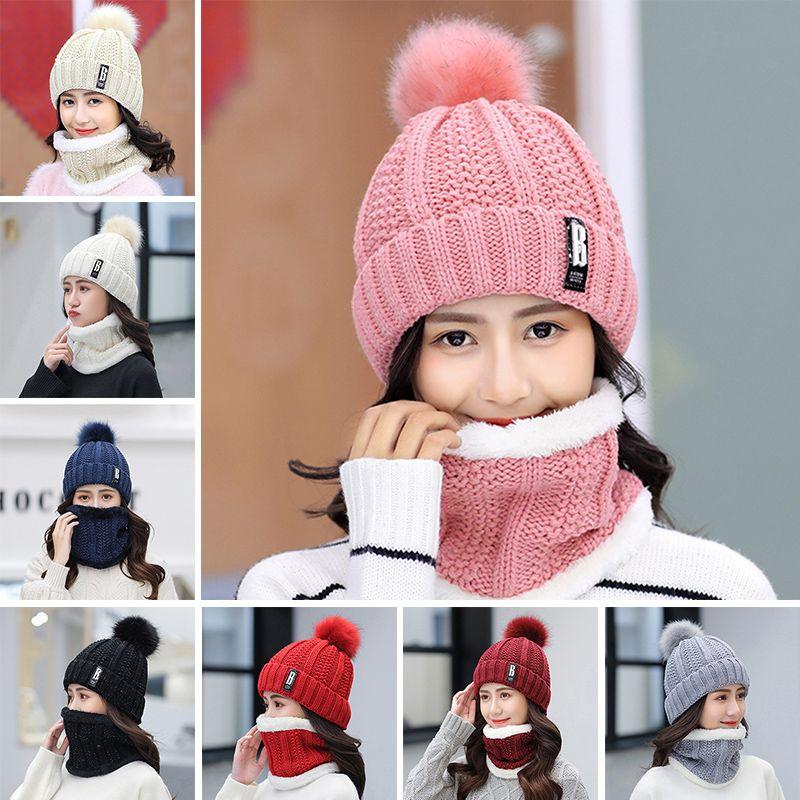 Chapéu de cobertura aconchegante mais veludo espessamento quente chapéus chapéus coreanos moda slougy mulheres soltas chapéu de malha add bib lenço set yl0176