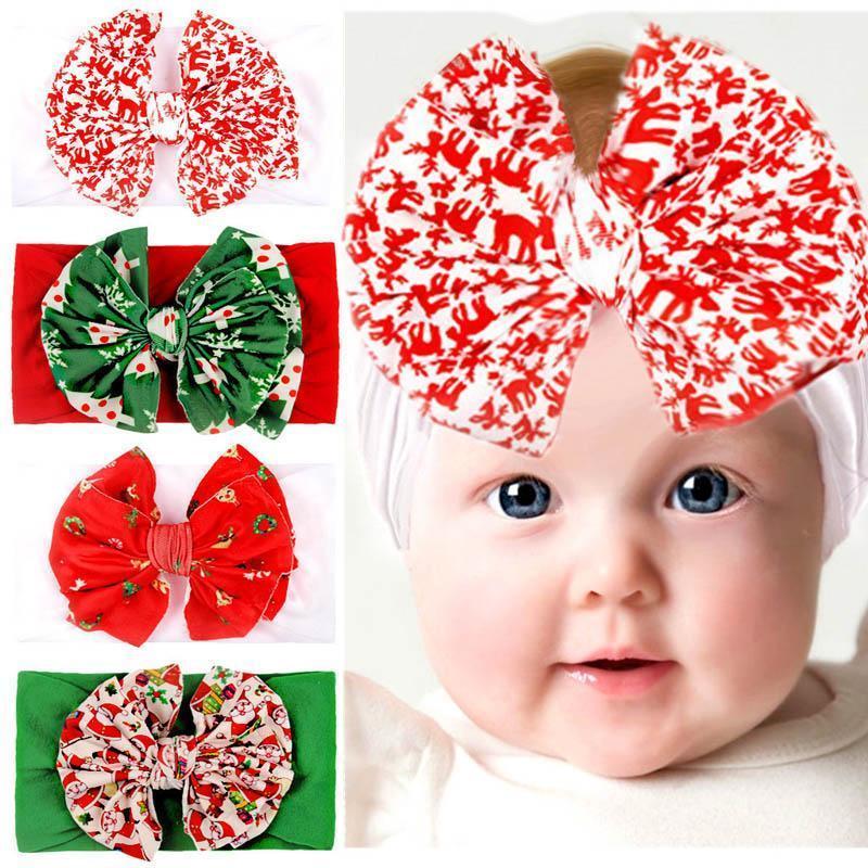 2020 di Natale le fasce del bambino delle ragazze di nylon fasce bambini di bowknot del fumetto della fascia di design morbido fasce gli accessori dei capelli del bambino