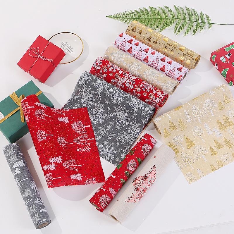 275cm Feliz Navidad Mantel rojo del copo de nieve del árbol de Navidad del partido corredor de larga mesa de la cena antideslizante de algodón de lino Mantel Decoración BC 4354