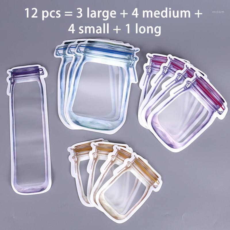 Композитный материал Застегивание молнии Герметичные мешки для хранения Нерегулярные упаковочные сумки для кухни Организатор Mason Jar Self-Sealing1