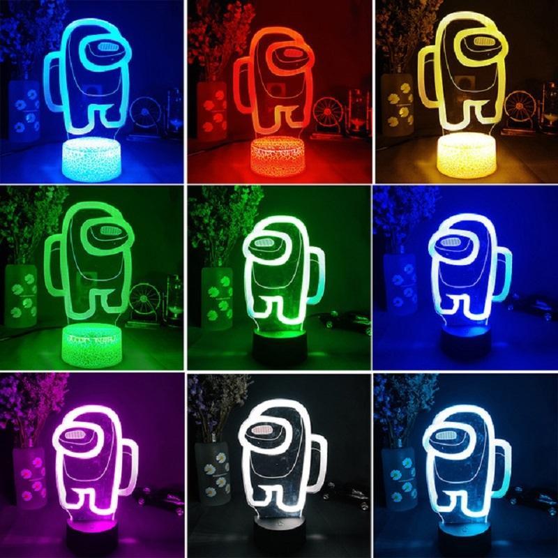 Hot DHL Amigos Juego Entre nosotros Logotipo 3D Illusion Desktop Lámpara de escritorio Mesa de centro Decoración LED Sensor Luces Atmosphere Lámparas de noche de noche