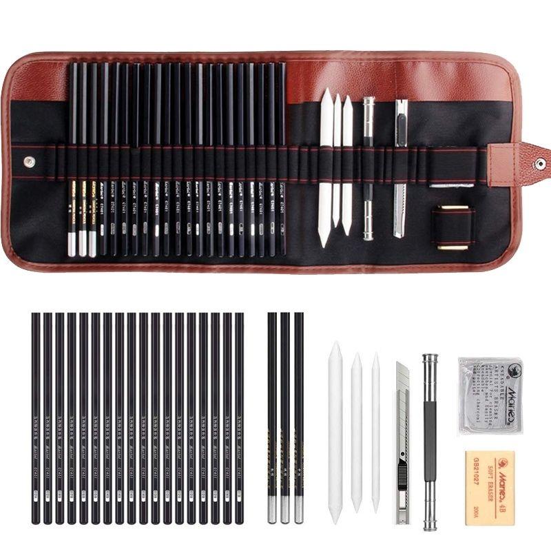 Tiptop 29 Adet Çizim Kroki Set Kömür Kalem Silgi Sanat Zanaat Boyama Eskiz Seti Sanatçı Kalemler Earser Çizim Malzemeleri Y200709