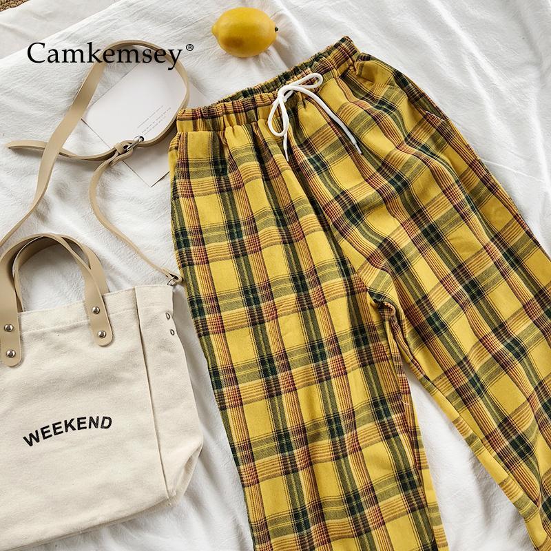 CamKemsey Weinlese-gelbe Plaid japanischen Harajuku Sommer-Hosen-Frauen-beiläufige Kordelzug Knöchel-Längen-lose Hose mit weitem Bein C1111