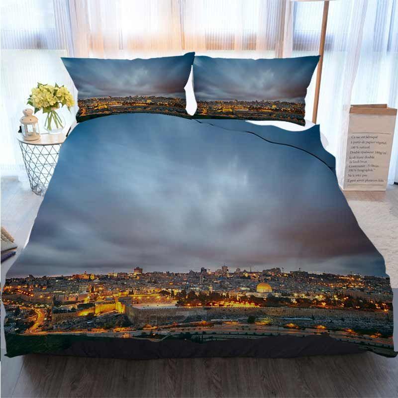 Designer 3D conjuntos de cama Dramatic Nuvens sobre a Cidade Velha de Jerusalém Israel Início de luxo macio edredon Consolador Tampa