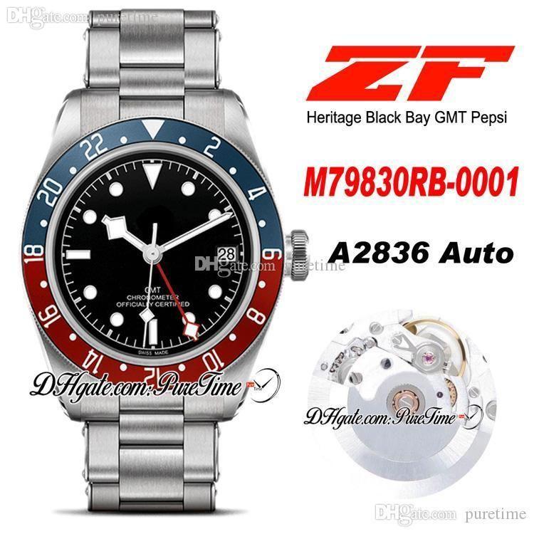 ZF GMT Pepsi 41mm A2836 Otomatik Erkek İzle Mavi Kırmızı Çerçeve Siyah Kadran Paslanmaz Çelik Bilezik En Iyi Baskı PTTD Puretime C02