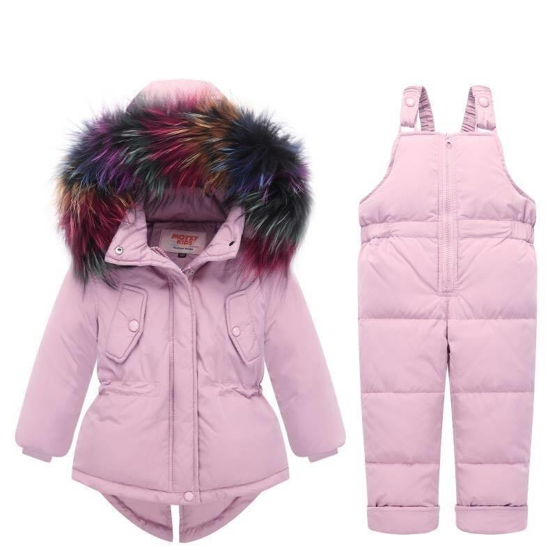 Зимние теплые детские комплекты одежды с капюшоном Детская куртка + брюки Детские парки парки для девочек мальчиков снег носить детский костюм 201126
