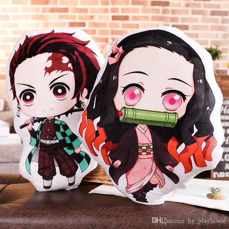 Hot Sale Anime Cartoon Demon Slayer Ghost Blade Plush Toys Dolls Cushion 13-45CM Double Sides Pillow