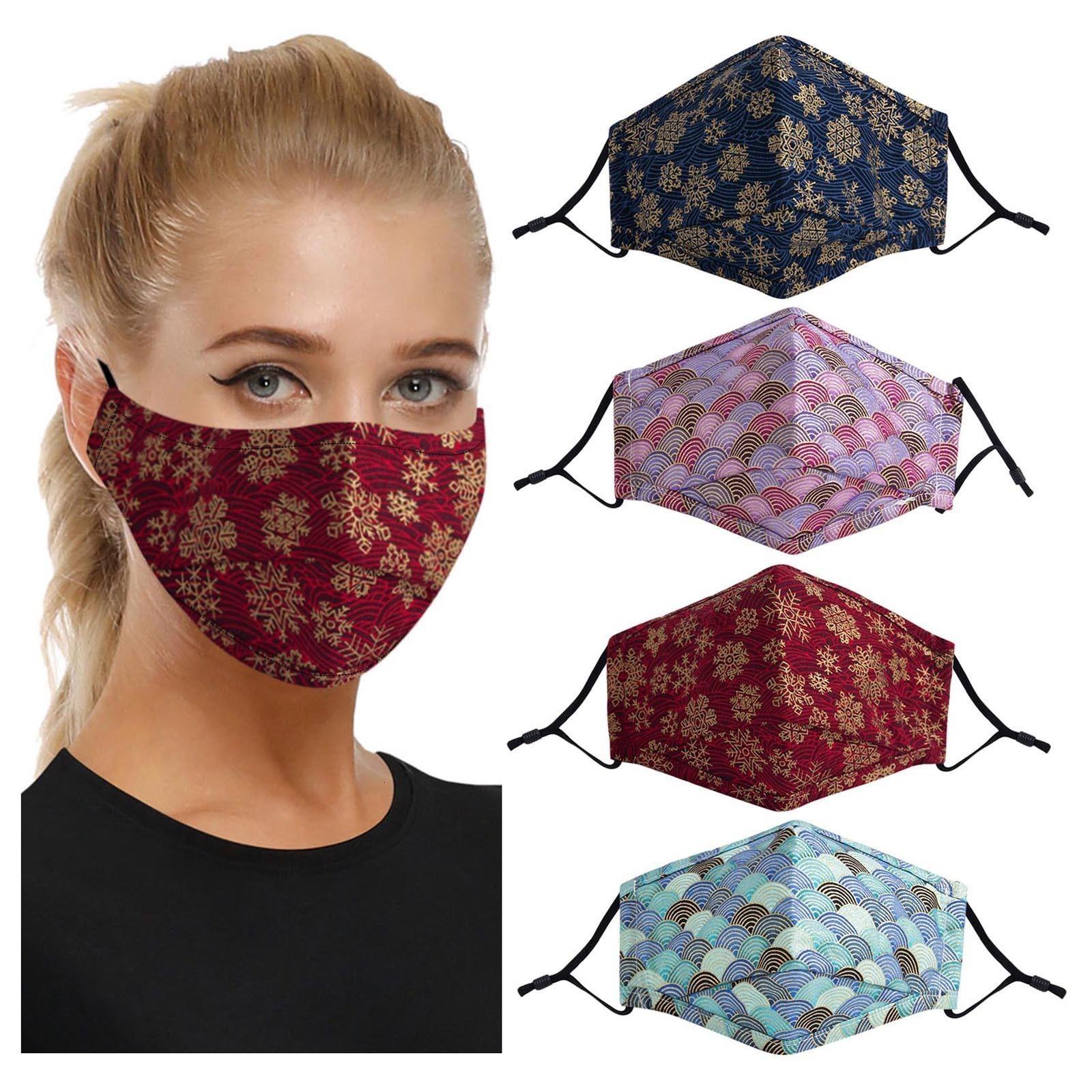 Máscaras barato Adulto lavável reutilização para Proteção Imprimir Máscara à prova de vento Foggy Haze Outono Mantenha Máscara Algodão Quente