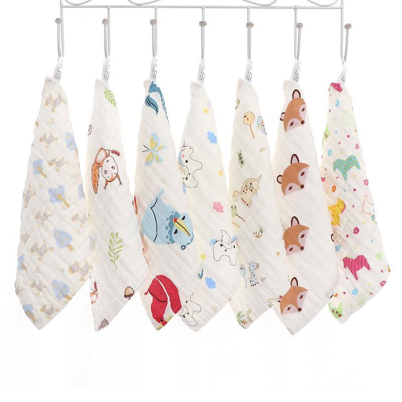 25 * 25 Seersucker Pure Seersucker Sciarpa piazza Baby Saliva Asciugamano Fazzoletto per bambini Lavato Asciugamano Garza Lavato Asciugamano Asciugamano Assorbente Styles