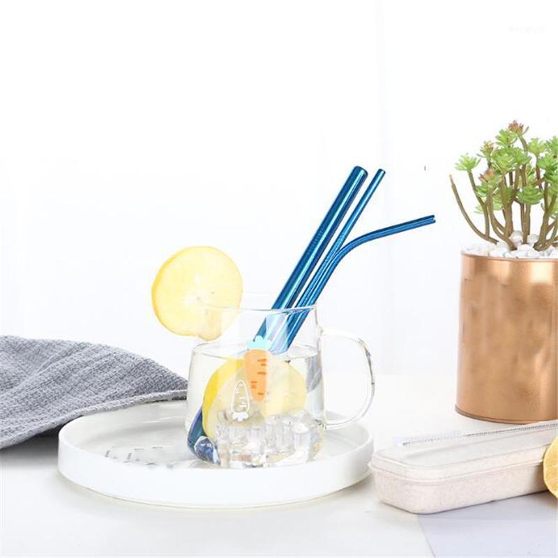 5 из нержавеющей стали чистые с чистым металлом многоразовая с питьевой соломинки цвета соломинки портативный сок 4 шт. / Установить кисть соломенная щетка1 CFDTT