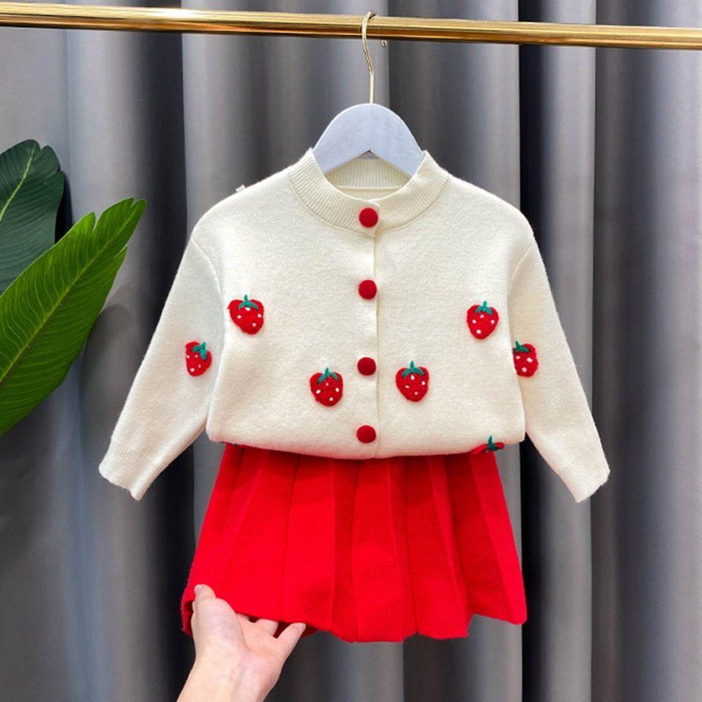 2020 Filles Automne Tricot Vêtements 2PCS Ensemble tricot bébé fraise Cardigan Outwear + Jupe plissée enfants chindren Costume S11346X1019