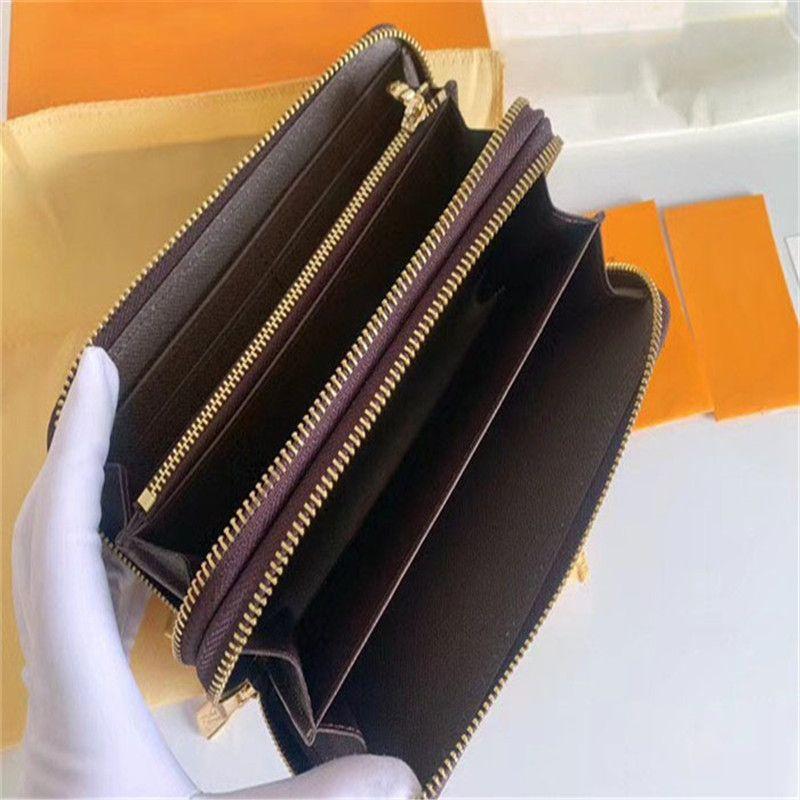 Portefeuille double fermeture à glissière Femme Femme Femme Sac à main Porte-cartes Porte-cartes Poche Longue Sac avec boîte 19x10cm
