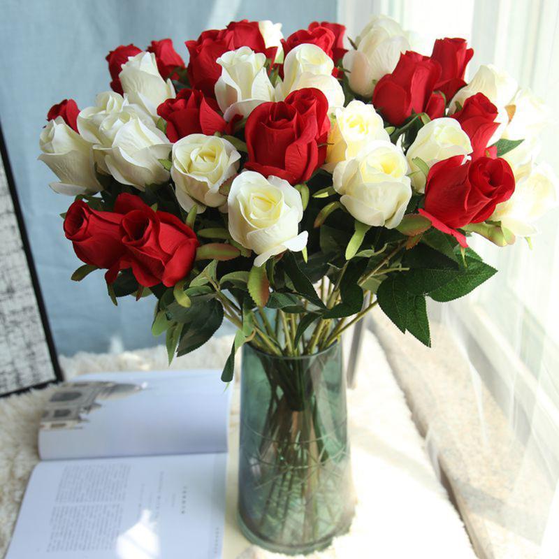 Букет искусственный поддельный розовый цветок свадебный букет свадьба вечеринка длинные розы домашнее декор свадьба партия l * 5