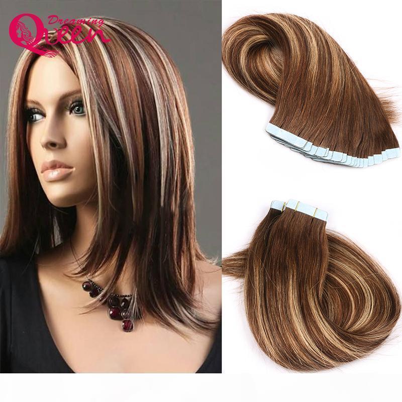 # 4 27 4 Cinta de color en extensiones de cabello humano Virgen brasileño Virgin Human Straight Hair 50G 20pcs Conjunto de la piel de la piel Virgin Pein Fear Weave Envío gratis