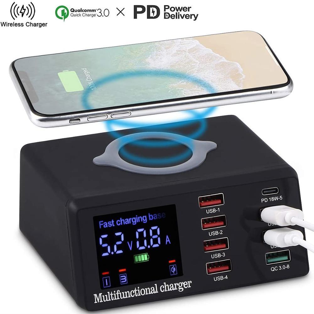 100W Multi USB Fast Charger Wireless für iPhone 12 11 Pro XR 8 Port USB LCD Schnellladestation 3.0 PD-Ladegerät für Samsung S10