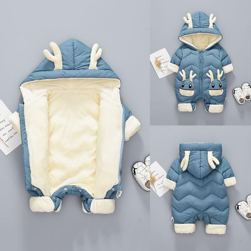 Olekid 2020 Snowsuit d'hiver plus Velvet Combinaison de garçons épais 0-2 ans Nouveau-né Rompe Baby Girl Girls Combinaison