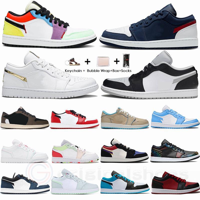 2021 منخفضة متعدد الألوان UNC المحظورة شيكاغو ترافيس سكوتس باريس دخان رمادي الجزيرة الخضراء 1S Jumpman 1 المرأة الرجال لكرة السلة حذاء حذاء رياضة
