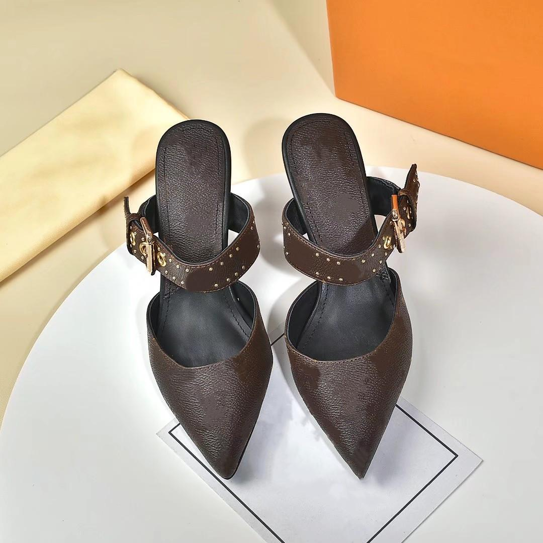Scarpe con tacco alto in pelle di lusso di alta qualità Donne Lettera unica Lettera Sandali Dress Sexy Dress Dress Shoes Lergrhvb
