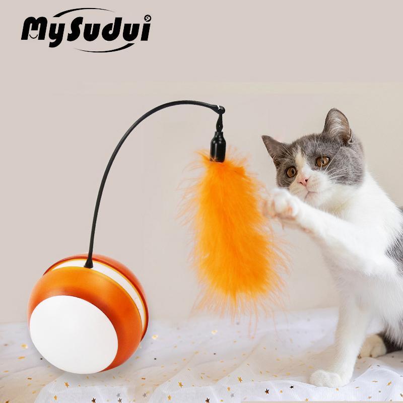 Juguete del gato eléctrico inteligente Rolling Ball interactivo gato automática juguetes con ruedas Con Teaser pluma del palillo de la luz llevada gatito entrenamiento del juguete 201109