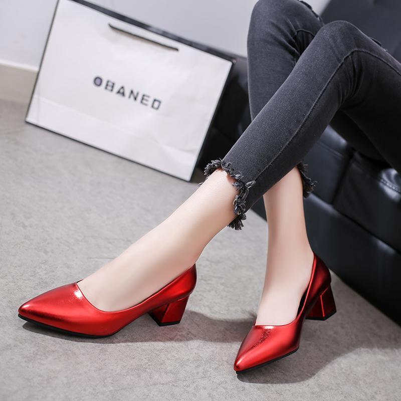 Zapatos de vestir tacones altos para mujer Suela de primavera Pure Color Puro Boca superficial Confortable Plaza Plaza Tacón antideslizante Zapatos Tacon Mujer U28-47