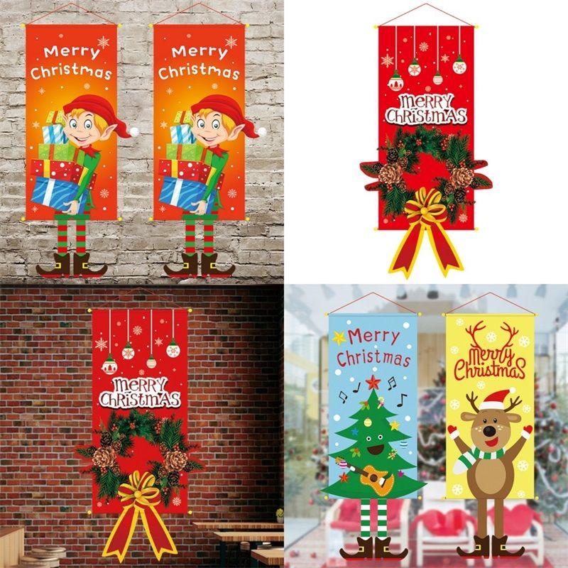 Partido Atmosfera Suprimentos Pendure Bandeiras do Feliz Natal do boneco de neve Fabric Art Bandeira Ornamentos Outdoor pingentes 2020 8 5JQ F2