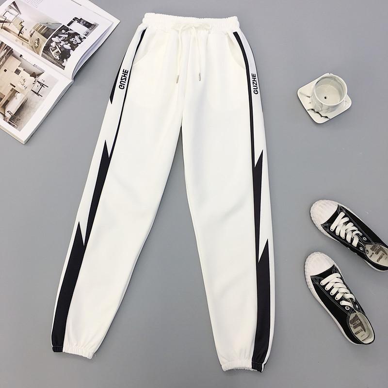 Sonbahar Hip Hop Spor Kadınlar Pantolon Artı boyutu 2XL Gevşek Harajuku Kargo Pantolon Kadınlar Yüksek bel pantolonlar Jogger Baggy Pantolon 201022