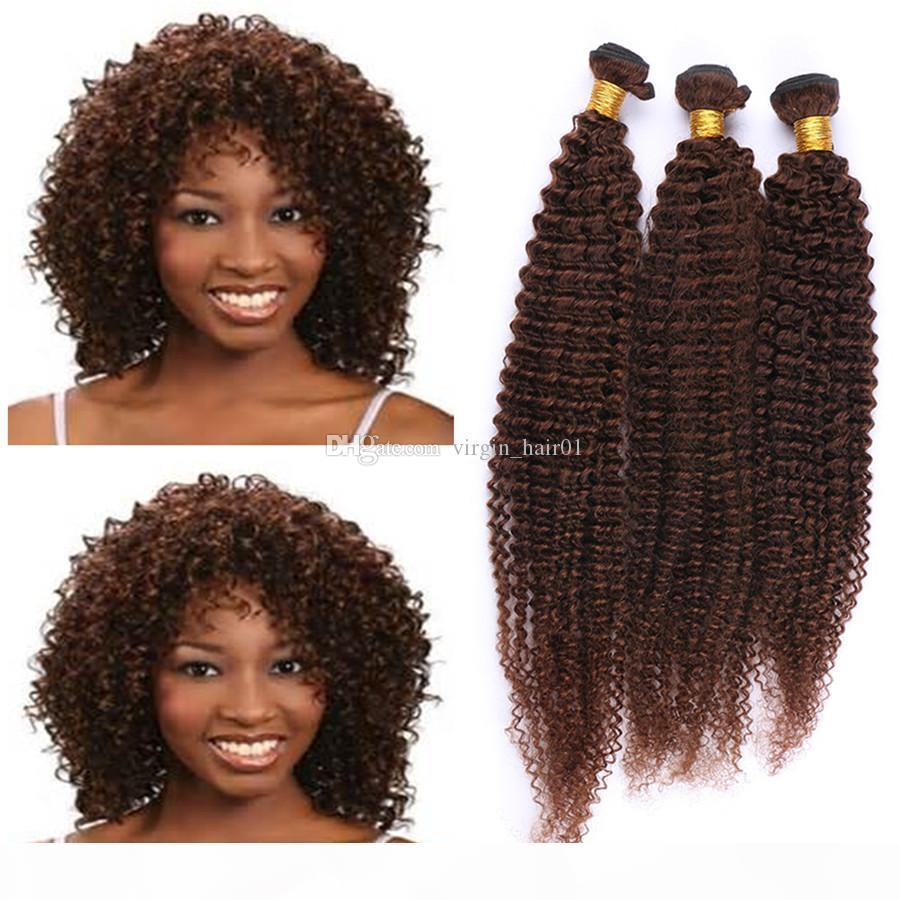 Kinky Curly Brown Human Hair Weaves Virgin Peruvian Hair Bundles 3Pcs Lot #4 Chestnut Brown Curly Hair Bundles