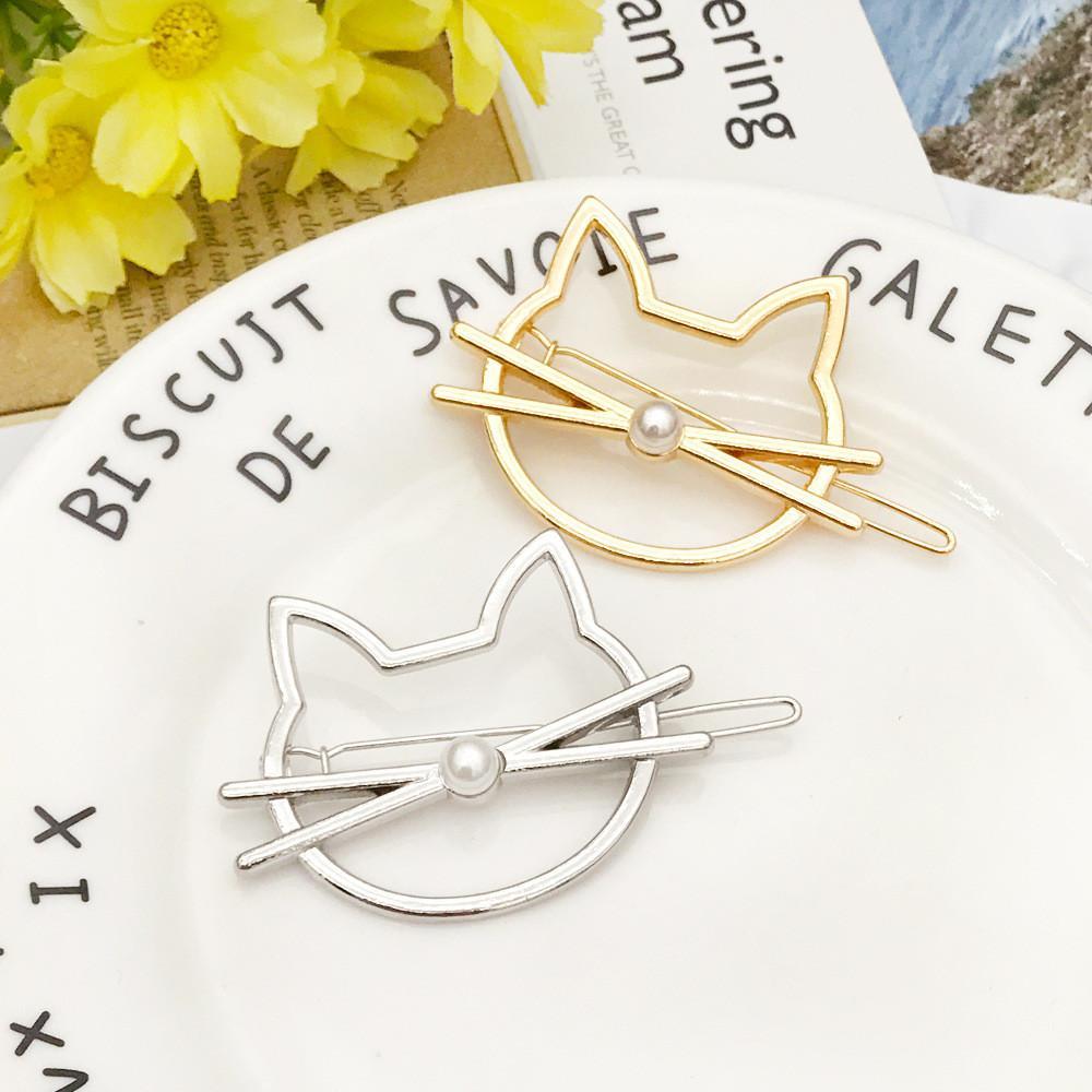 Aushöhlen Katze Haarpin Art und Weise nette nachgemachte Perlen-Hairpin Side Clip Barrette Modellierhilfsteil Zubehör für Frauen Geschenke