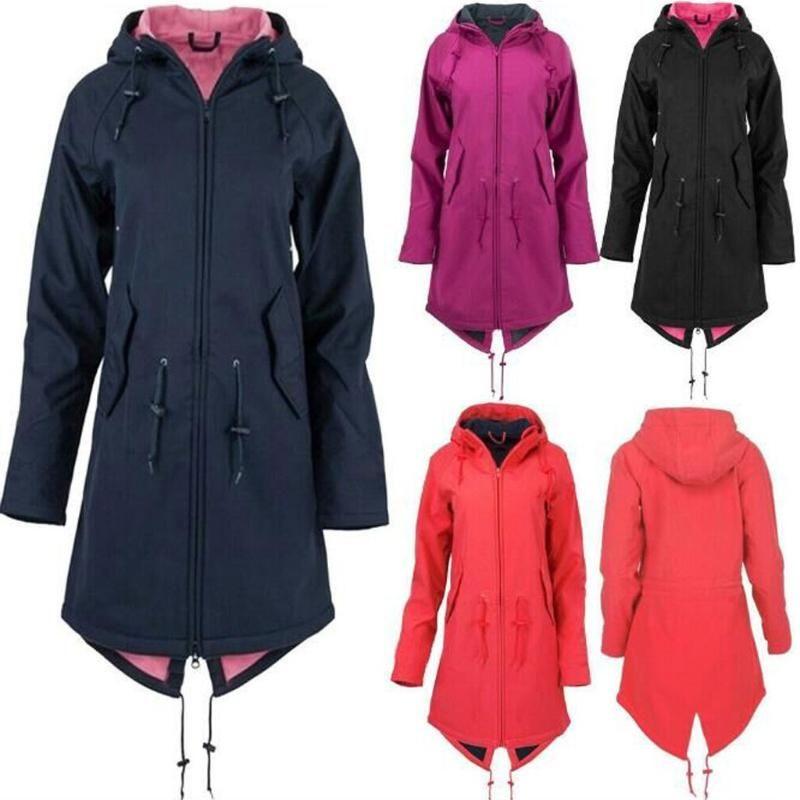 Frauen Solid Regen Jacke im Freien Hoodie Large Size Lange wasserdichten Mantel Windjacke 9,19