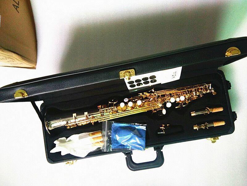 العلامة التجارية الجديدة Yanagisawa W037 سوبرانو ساكسفون النيكل مطلي الفضة النحاس أنبوب الذهب مفتاح ساكس مع المعبرة القصبدة العنق شحن مجاني