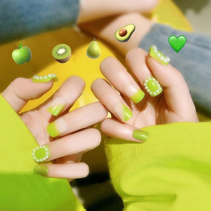 24pcs Moda Longo pregos falsificados Verão Estilo Verde Salon False Nails Acrylic Gel completa Francês bailarina Dedos Art Tips Ferramenta gsNz #