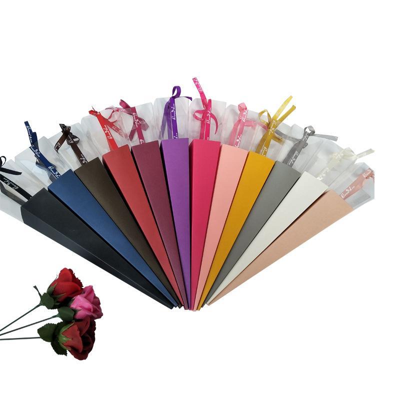 Geschenk Wrap Single Rose Box Valentines Tag Wickeln Seidenband Kegel Karton Transparente Papierkoffer Hochzeitsdekoration