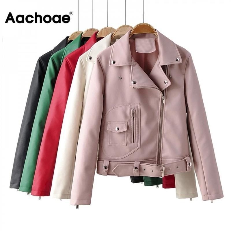 AACHOAE High Street PU Chaqueta de cuero para mujer Sólido manga larga elegante abrigo con cremallera con cremallera decorada chaqueta elegante abrigo 201030
