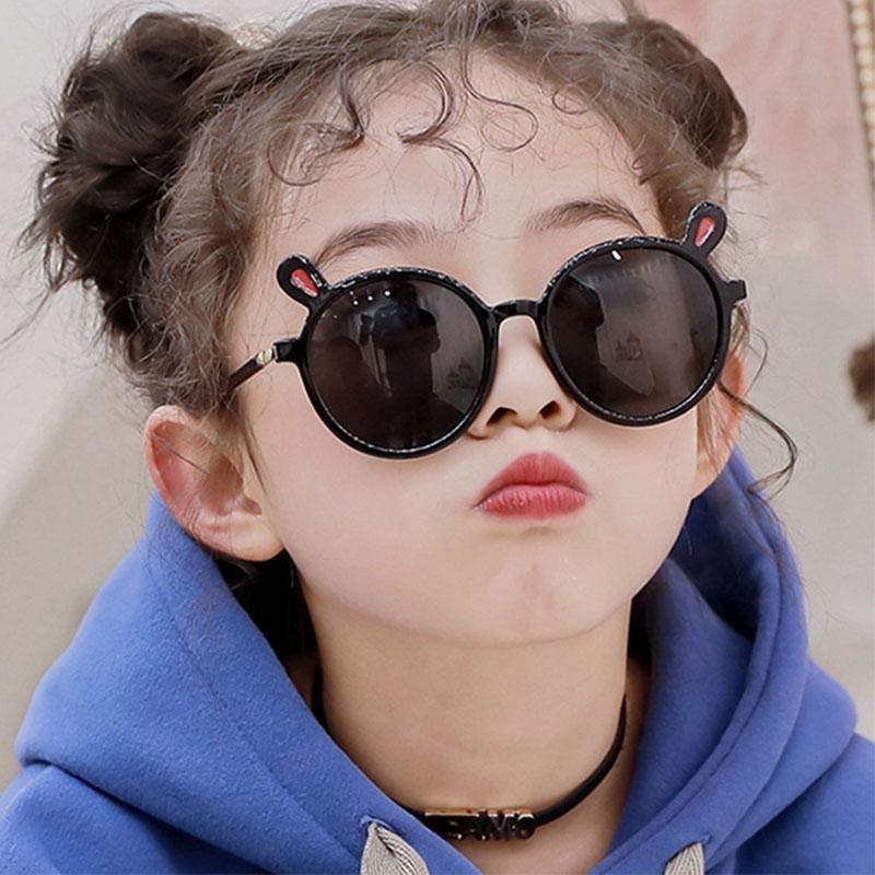 Детская мода солнцезащитных очков Симпатичных Уши круглого кадр очки прозрачных мультфильм дети девочка очки