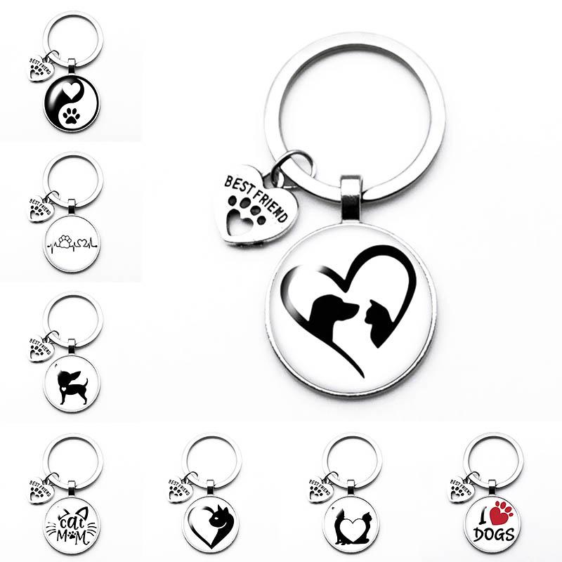 Whole Lovely New Popular New Puppy Kitten Play Key Ring Love Pet Cats Dogs Best Friend Pendant Fashion Keychain Key Ring Birthday Gift Event