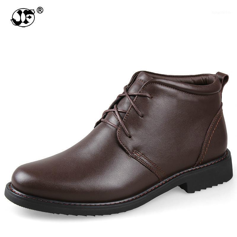 Winterstiefel Männer 2020 Echtes Leder Kleid Stiefel Stiefel Männlich Leder Knöchelschuhe Plüsch Pelz Warme Schneeschuhe Handgemachte Britische Art UJ091