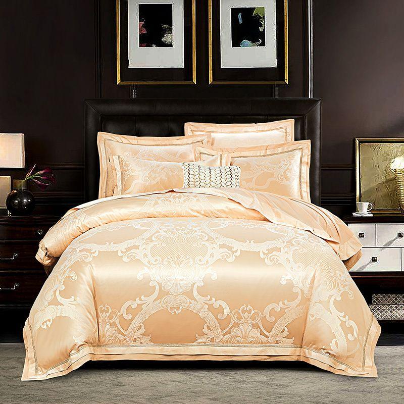 European style Jacquard Silk bedding set king queen size Satin quilt/duvet cover bed sheet pillowcases cotton bedclothes home textile