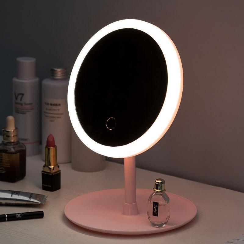 LED Makyaj Aynası M007 Akıllı Dokunmatik Kontrol Işıklı Makyaj Vanity Stand Up Masa Yüzük Işık Ayna LED Vanity Ayna USB Kullanımı
