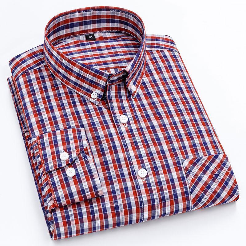 100% Cotton Thin Fashion Men's Long Sleeve Plaid Shirts Long Sleeve Regular Fit Button-down Breathable Soft Men Casual Shirt