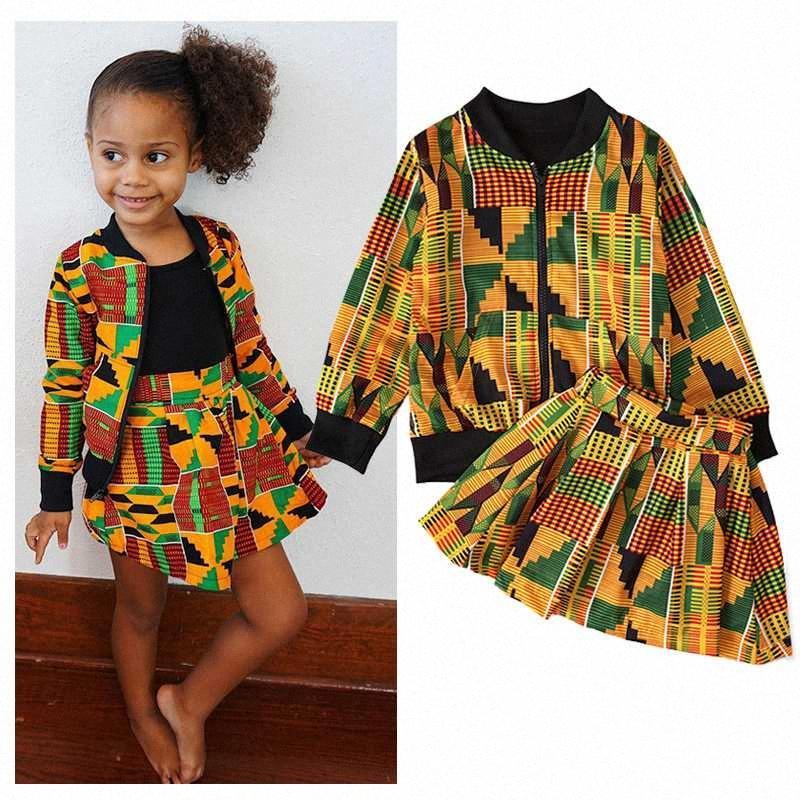 Kız Bebek Giyim Bohem Stili Dinozor Setleri Spor Coat + Etek 2 Adet Suit Sonbahar Kıyafetler Suits Uzun Kollu Çocuk Giyim 4Mnt #