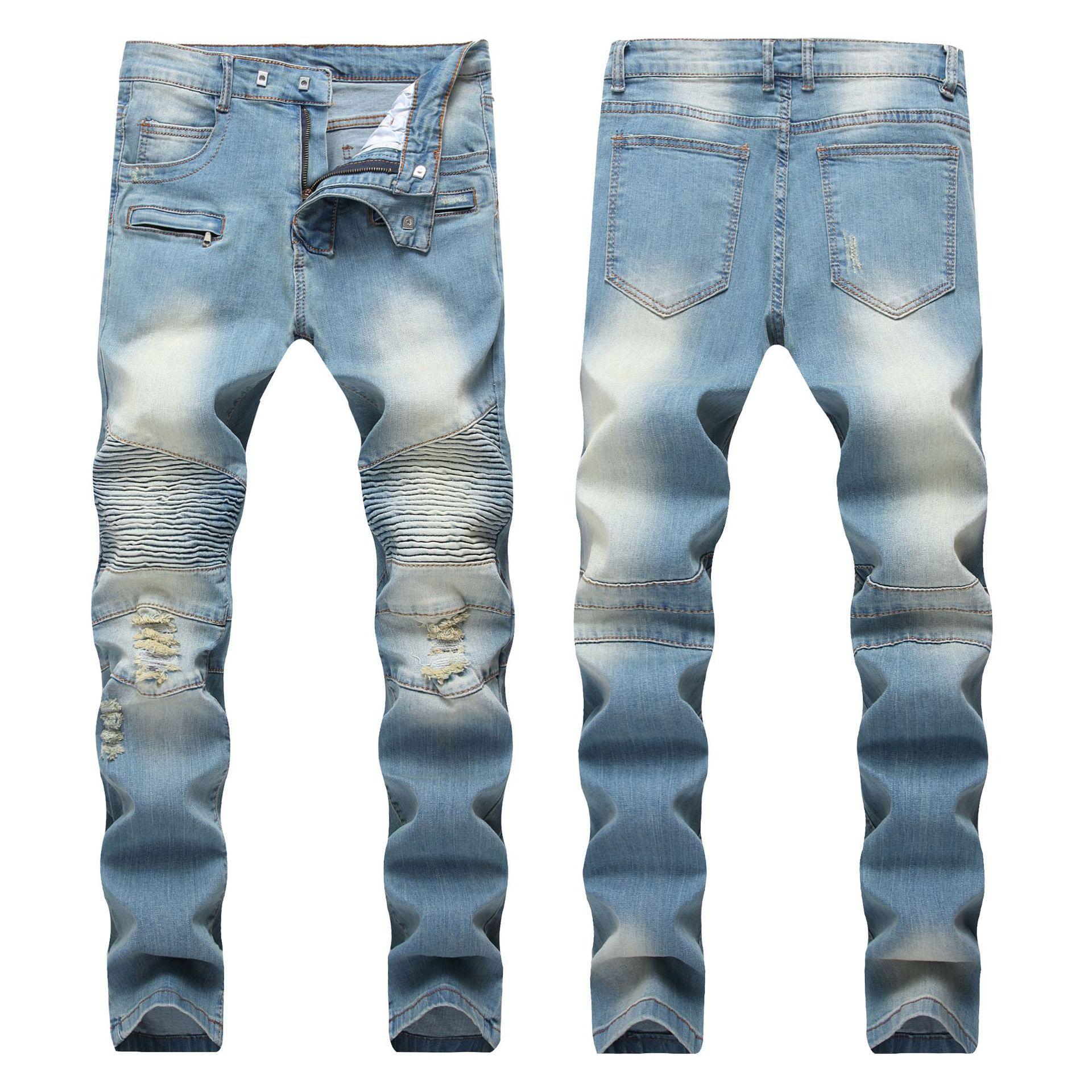 Sıska Erkek Sıkıntılı Yırtık Kot Serin Erkekler Kot Streç Slim Fit Denim Biker Jeans Hip Hop Erkekler Streetwear 170 #