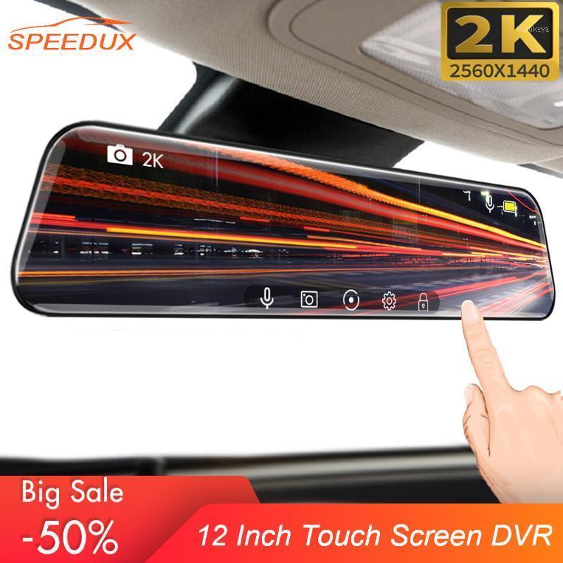 12-дюймовый автомобильный DVR Stream Media Dash Cam 1440P сенсорный экран Двойной линзы 2K видеорегистратор ROOKEWIEW Зеркальное резервное копирование камеры Registrator1