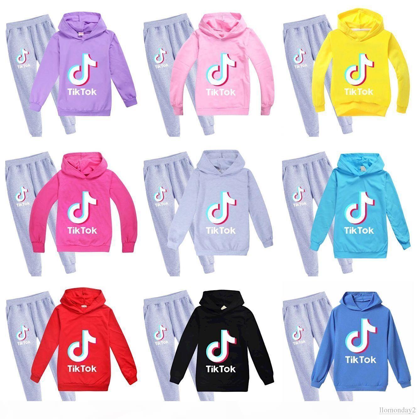 9Color TikTok Kids Set Long Sleeve Hoodie Trousers Cotton Blend Multicolor Optional Kids Clothes Kids Sweatshirt Boy Girl Clothing 2PCS set