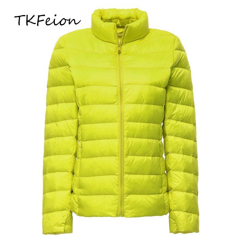 Female Short Jackets Spring Autumn Womens Bomber Slim Coats Warm Duck Down Light Thin Factory Direct Sale Plus Size 6XL 7XL 201017