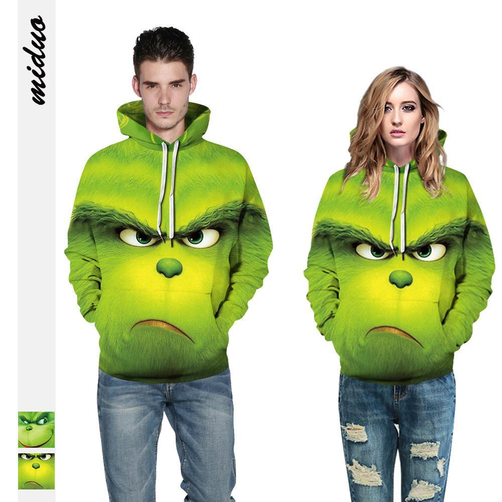 Noel şapka, yeşil Shrek 3D dijital baskı, animasyonlu sweatshirt, erkek giyim, beyzbol sweatshirt ile 2020 Oakdale