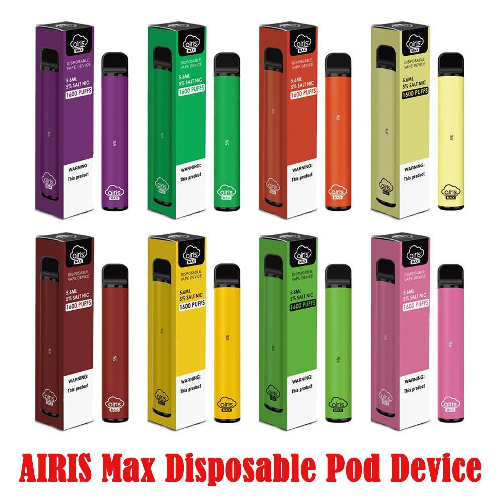 100% Original AIRIS Max 1600 Puff à usage unique Pod kit de batterie 950mAh Appareil 1.8ohm Capacité 5,6 ml vape stylo VS BANG XXL Disposabl 100% Authentc